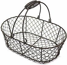 CVHOMEDECO. Oval Metal Wire Egg Basket Wire Fruit