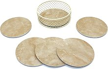 CVHOMEDECO. Round Marble Pattern Coaster Set with