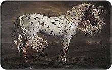 CVSANALA Non-Slip Soft Bath Mat,Horse Leopard