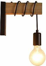 CWJ Retro Industrial Rustic Metal Wooden Wall Lamp