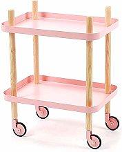 CWJ Service Cart Trolley with Shelf, Wooden Shelf,