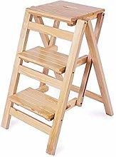 CXY-JOEL Step Stool Folding 3 Tier Wood Ladder