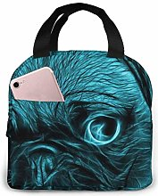 Cyan Pug Blue Thin Line Us Flag Lunch Tote Bag