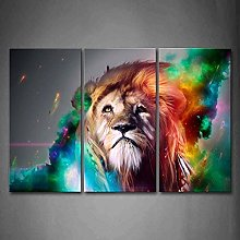 Cykably Colorful Lion Print On Canvas Animal The