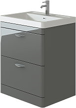 Cyrenne Grey Floor Standing Bathroom Vanity Basin