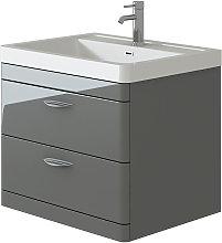 Cyrenne Grey Wall Mounted Bathroom Vanity Basin