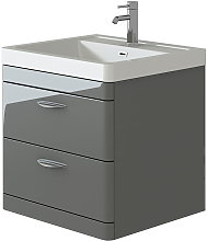 Cyrenne Grey Wall Mounted Bathroom Vanity Basin