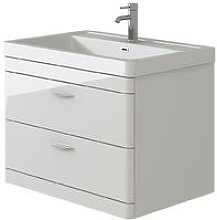 Cyrenne White Wall Mounted Bathroom Vanity Basin
