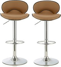 Cyrus Modern Bar Stool In Taupe Faux Leather In A