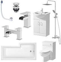 D Shaped BTW L Shape 1600mm Bathroom Suite Left