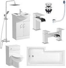 D Shaped BTW L Shape 1600mm Bathroom Suite Right
