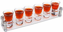 D&Z Shot Glass Serving Tray with 6 Shot Glasses,