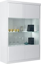 Dabria Large Glass Display Cabinet In White Gloss