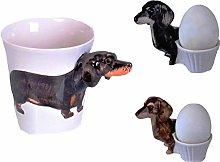 Dachshund Dog Animal Ceramic Mug 3D Dachshund Egg