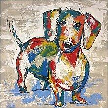 Dachshund Dog Graffiti Art Canvas Paintings on The