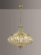 Där Asmara Crystal Ceiling Light, Antique Brass