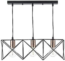 Där Lighting - Black Midi 3 Bar Pendant Light -