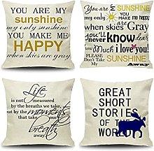 Daesar Set Of 4 Throw Pillow Covers, Throw Cushion