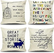 Daesar Sofa Pillow Cases 4 Pack, Pillowcase Covers