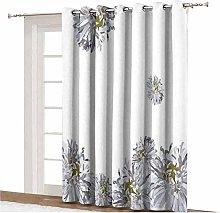 Dahlia Flower Decor Sliding Door Curtain