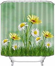 Daisy Flowers Grass Shower Curtain Set Polyester