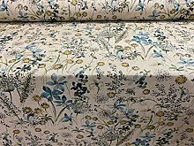 Daisy Hedgerow Teal/Grey Linen140cm Wide Designer