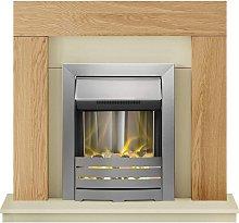 Dakota Fireplace Suite in Oak with Helios Electric