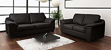 Dallas Black PU Leather 3+2 Seater Sofa Suite
