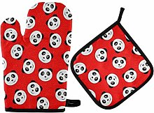 Dallonan Potholders and Oven Gloves Black And