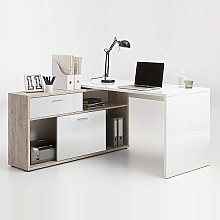 Dalton Corner Computer Desk In Sand Oak And Gloss
