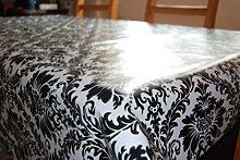 DAMASK BLACK / WHITE WIPE CLEAN PVC TABLECLOTH