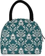 Damask Pattern Lunch Bag Cooler Bag Insulated