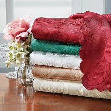 Damask Table Cloths White 178cm Round by Coopers