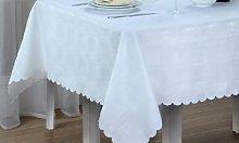 Damask Tablecloth[White 220 x 150cm [659573]]