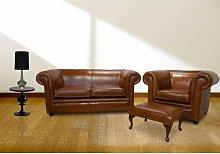 Damita Chesterfield 3 Piece Leather Sofa Set