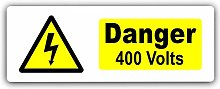 Danger 400 Volts Sign-WITH IMAGE-Aluminium