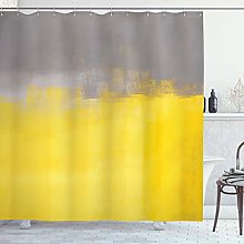 dangfeipeng Grey and Yellow Shower Curtain, Grunge