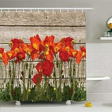 dangfeipeng Shower Curtain Blooming Poppy Flower