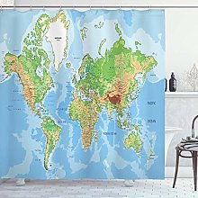 dangfeipeng World Map Shower Curtain, Topographic