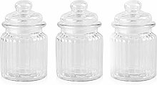 Danmu Art 3pcs 250ml Glass Jars with Lids Small