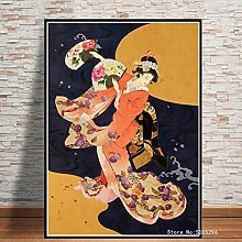 danyangshop Print On Canvas Japanese Geisha Woman