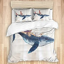 DAOPUDA Washed Cotton Duvet Cover Set,Whale and
