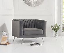 Darbie Grey Velvet Armchair