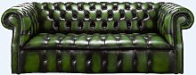 Darcy Green antique leather Chesterfield sofa  