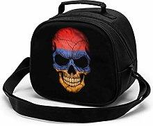 Dark Armenian Flag Skull Insulated Lunch Bag Mini