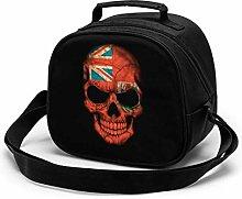 Dark Bermuda Flag Skull Insulated Lunch Bag Mini