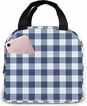 Dark Blue and White Vichy Plaid Insulated Lunch