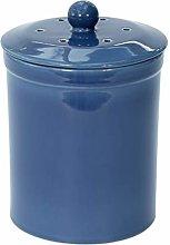 Dark Blue Ceramic Compost Caddy - Melbury Kitchen