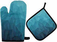 Dark Blue Polygonal Oven Mitts Pot Holders Extreme
