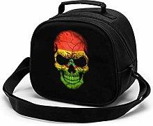 Dark Bolivian Flag Skull Insulated Lunch Bag Mini